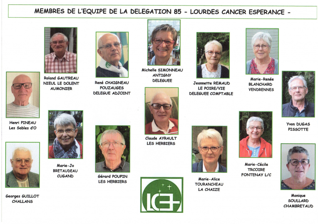 Zone de Texte: MEMBRES DE L'EQUIPE DE LA DELEGATION 85 - LOURDES CANCER ESPERANCE -